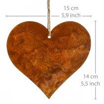 Dekoherzen aus Metall, Herbstdeko, Deko-Anhänger, Edelrost 14×15cm 6St