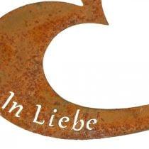 """Herzstecker """"In Erinnerung"""" """"In Liebe"""" """"Unvergessen"""", Trauerdeko, Metall Edelrost 8×7cm 12St"""