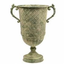 Deko-Pokal mit Rautenmuster Antikoptik Metall Moosgrün Ø24,5cm H45cm
