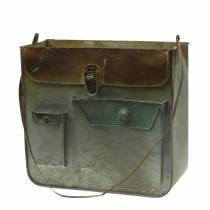 Pflanzgefäß Tasche Metall Grau / Rost H30cm