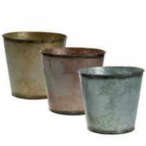 Deko Pflanztopf mit Blättern Zink Metallic Grau, Orange, Braun Ø26cmH22cm 3St