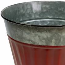 Pflanztopf Rot-Silber Ø13cm H11cm 4er-Set