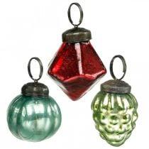 Mini-Christbaumkugel-Mix, Diamant/Kugel/Zapfen, Glaskugeln Antik-Optik Ø3–3,5cm H4,5–5,5cm 9St
