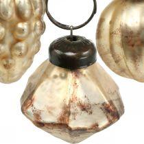Mini-Glaskugel-Mix, Diamant/Kugel/Zapfen, Baumschmuck Antik-Optik Ø3–3,5cm H4,5–5,5cm 9St