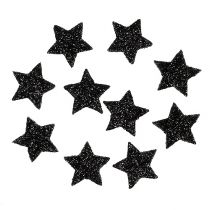 Mini Glitterstern Schwarz 2,5 cm 48St