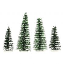 Mini Tannenbaum Mix Grün, beschneit 10-15cm 4St