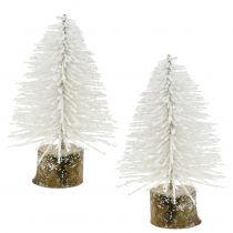 Mini-Weihnachtsbaum Weiß beglitzert 6St