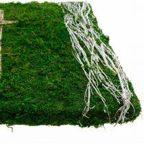 Moosbild Reben und Kreuz für Grabgesteck Grün, Weiß 40×30cm