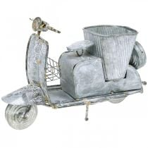 Blumentopf Motorroller Metall Vintage Weiß gewaschen 35×12×23cm