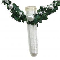 Myrtenherz mit Band, Perlen, Röhrchen Weiß 4St