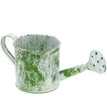 Pflanzgefäß Gießkanne mit Schmetterlingen verzinkt Grün-Weiß H10cm