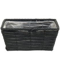 Pflanzkasten Rattan-Optik Anthrazit 26cm x 14,5cm H12cm