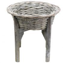 Korbschale mit Holzständer Grau, Weiß gewaschen Ø40cm