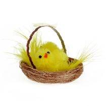 Deko-Nest mit Chenille-Küken Gelb 5cm 4St