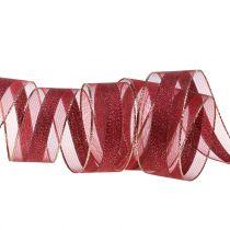 Organzaband mit Streifen-Muster Dunkelrot 25mm 20m