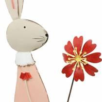 Osterdeko, Hase aus Metall, Frühlingsdeko, Osterhase mit Blume 61cm