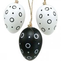 Ostereier mit Ringen und Punkten, Frühlingsdeko, Monochrome Osterdeko 6St
