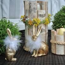 Osterhase mit Federboa, Frühlingsdeko, Hase Golden, Osterdeko