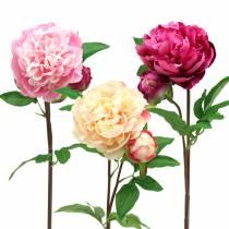 Pfingstrose Kunstblume mit Blüte und Knospe Verschiedene Farben 68cm