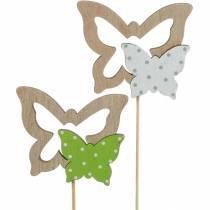 Pflanzenstecker Schmetterling am Stab Holz Frühlingsdeko 16St