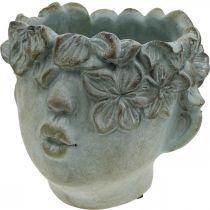 Kopf zum Bepflanzen, Büste aus Beton, Blumendeko, Pflanzschale Antik-Look H10cm 2St