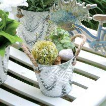 Pflanztopf mit Griffen, Deko-Schale mit Blumenmuster, Metallgefäß Ø14,5cm