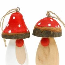 Pilz zum Hängen Holz Weiß, Braun Sortiert 6,5/8cm 8St