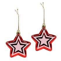 Stern zum Hängen Rot, Weiß Plastik 8,5cm 2St