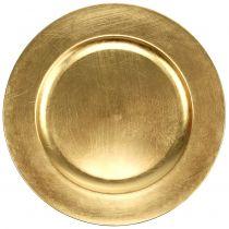 Plastikteller 25cm gold mit Blattgold - Effekt