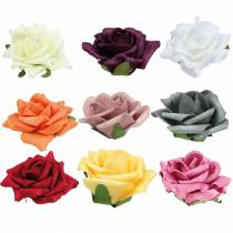 Foam-Rose Ø7,5cm verschiedene Farben 18St