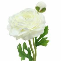 Kunstblume Ranunkel mit Blüte und Knospe Weiß H34cm