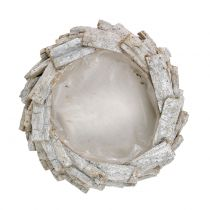 Rindenschale Weiß gewaschen Ø28cm H8cm