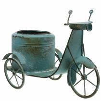 Blumentopf Motorroller Metall Rost Blau 33cm