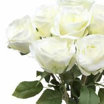 Deko-Rose Seidenblumen im Bund Creme 36cm 8St