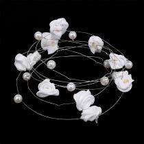 Drahtgirlande mit Perlen und Rosen 120cm Weiß