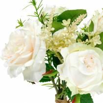 Rosenstrauß Künstlicher Rosenbund Creme Seidenblumen im Bouquet