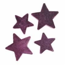 Streudeko Sterne beflockt Aubergine 4cm/5cm 40St