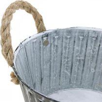 Pflanzschale, Metallschale mit Henkeln, Deko Schale zum Bepflanzen Ø18cm