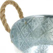 Dekoschale Silber mit Griffen Metall Pflanzschale Pflanzkübel
