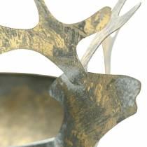 Schale mit Rentierkopf Golden Antik-Optik Metall Ø14cm