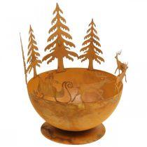 Deko-Schale mit Weihnachtsschlitten, Adventsdeko, Metallgefäß Edelrost Ø25cm H32,5cm