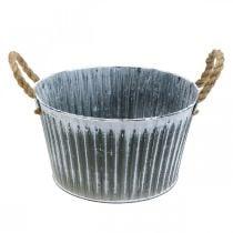 Pflanzschale aus Metall, Blumenschale, Pflanztopf mit Henkeln Ø28cm