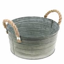 Zinkschale Wickelmuster mit Seilgriffen Weiß gewaschen Ø28,5cm H13,5cm