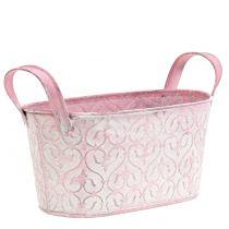 Pflanzgefäß Zinkwanne mit Dekor Rosa gewaschen 18,5cm x 11cm H9cm