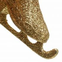 Christbaumschmuck Schlittschuh Gold, Glitzer 8cm 12St