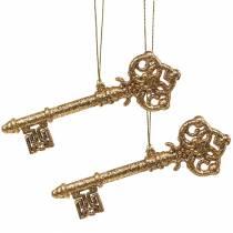 Christbaumschmuck Schlüssel Gold, Glitzer 14,5cm 12St