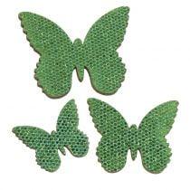 Streudeko Schmetterling Grün-Glitter  5/4/3cm 24St