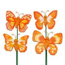 Deko-Stecker Schmetterling Orange 6,5cm 24St