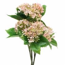 Schneeballbusch Grün Rosa Weiß künstlich 49cm
