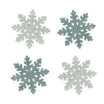 Schneeflocke mit Glitter Holz 4cm Grau 72St